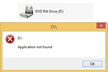 Application not found error displayed when DVD drive accessed