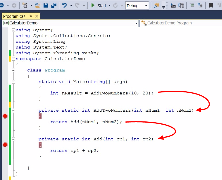 Hide methods from debugger in C#