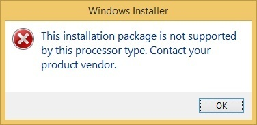 Installation package is not supported error