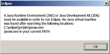 Eclipse IDE not started no Java Virtual Machine was found