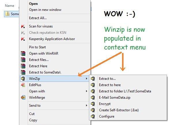 Winzip context menu missing