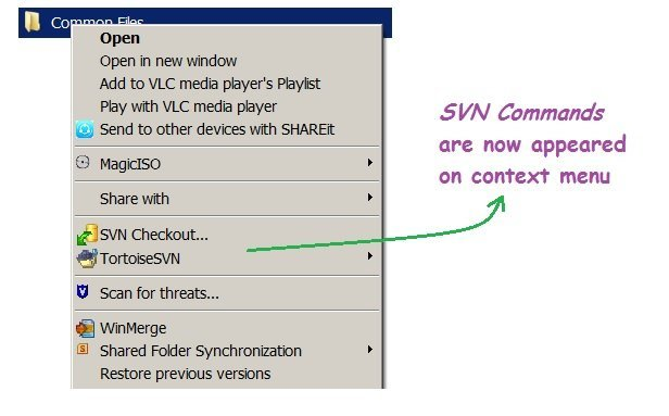 [TortoiseSVN right-click context menu not displayed] - SVN Commands appeared