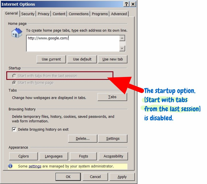 How to restore last session in Internet Explorer