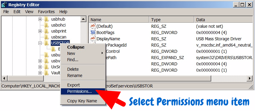 Unable to change the registry key value