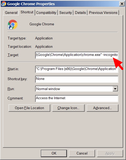 Enable private mode internet browsing default