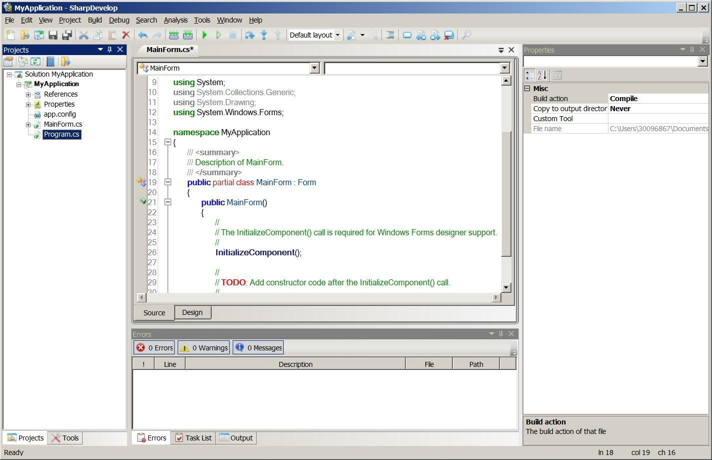 SharpDevelop open source IDE for .NET
