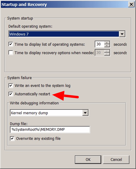avoid computer reboot when blue screen error