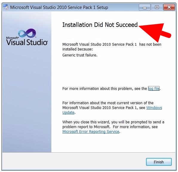 Generic trust failure Visual Studio 2010 SP1 installation error