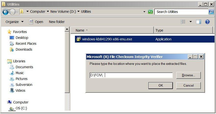 Microsoft File Checksum Integrity Verifier tool