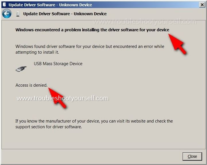 A problem installing the driver software for your device