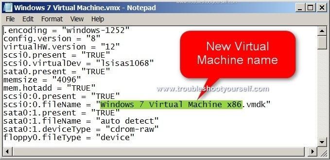 Rename VMWare Virtual Machine image