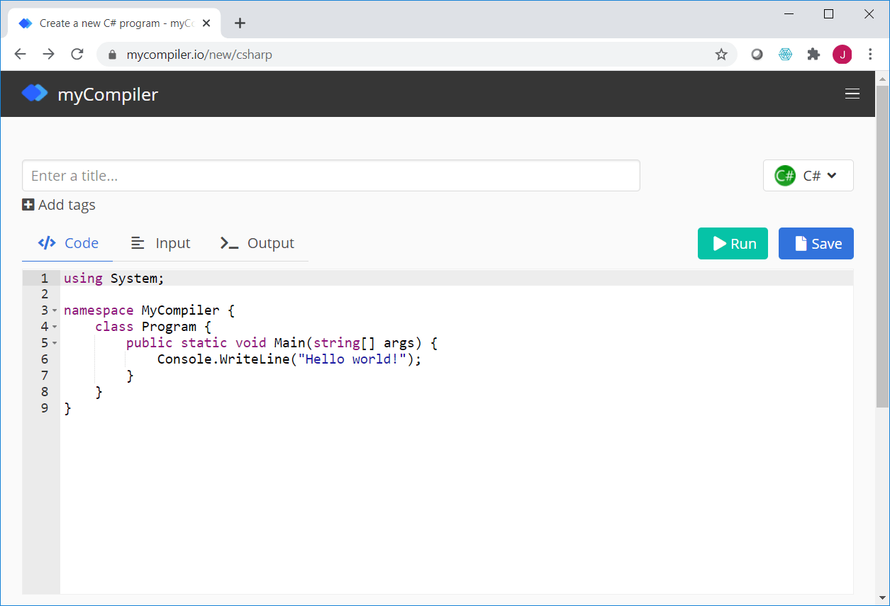 myCompiler Online Code Editor and Compiler