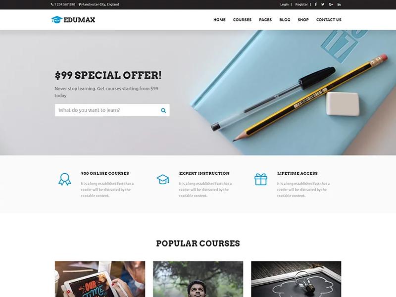 Edumax - Education Univeristy & Online Courses. WordPress Theme