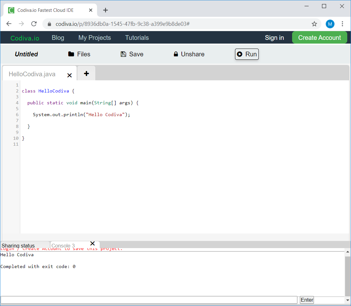 Online IDE for C, C++ and Java