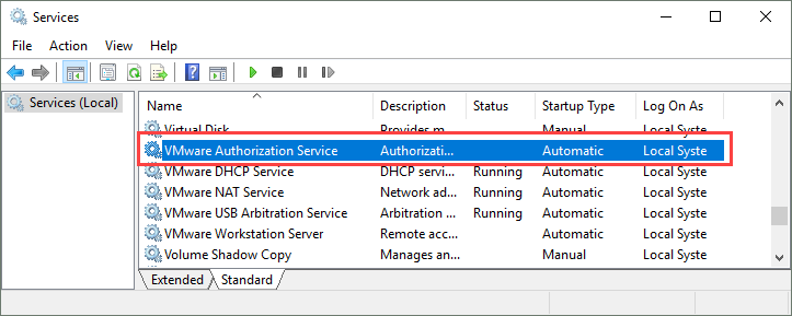 VMware authorization service failed to start